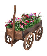 Wood Wagon Planter Pot Stand with Wheels - Color: Wood - £134.48 GBP