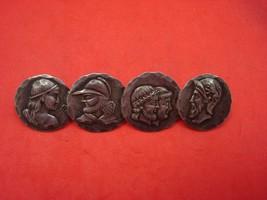 "Medallion Sterling Silver Bar Pin w/Four Medallions 2 7/8"" Long X 3/4"" Diameter - $247.10"