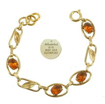 "VINTAGE DECO GF GOLD FILLED AMBER PASTE LEAF LINK BRACELET 6.5"" image 4"