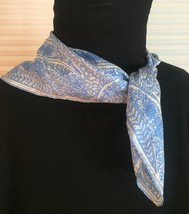 Vintage 60s Vera Neumann square silk scarf (Blue and white large paisley)