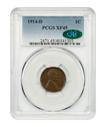 1914-D 1c PCGS/CAC XF45 - Key Date - Lincoln Cent - Key Date - $1,076.70
