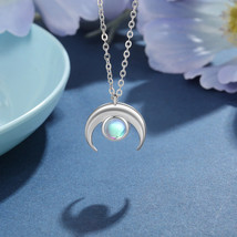 925 Sterling Silver Moonstone Necklaces Cute Sun and Moon Necklaces Pend... - $15.87