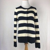 Gap Women's Navy Blue & White Thick Striped Button Up Cardigan Sweater Sz Medium - $27.21
