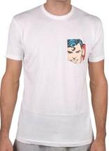 Almost Skateboard Dc Comics Blanco de Hombre Superman Bolsillo Camiseta S M L XL