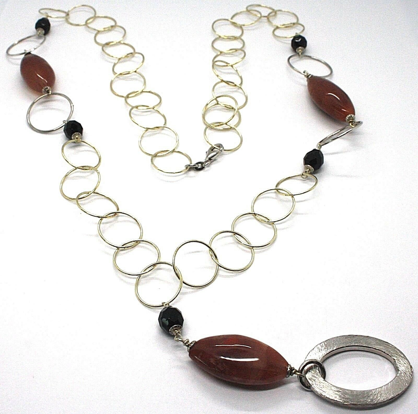 Necklace Silver 925, Jasper Oval, Length 80 cm, Circles Large, Pendant