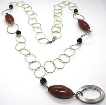 Necklace Silver 925, Jasper Oval, Length 80 cm, Circles Large, Pendant image 1