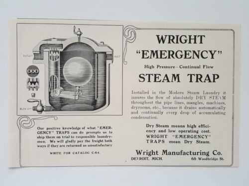 Primary image for 1911 Wright Manufacturing Steam Trap Laundry Equipment Vintage Magazine Print Ad