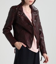 Padded Shoulder And Forearm Women's Genuine Soft Lamb Skin Leather biker... - $149.00