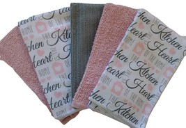 INSPIRATIONS KITCHEN TOWEL SET of 5 Dish Towels Pink Grey Heart of the Home - $18.99