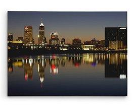 "Minneapolis Night Skyline Brushed Aluminum Metal Print (20"" x 16"") - $74.20"