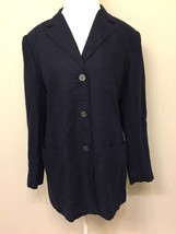 Talbot's Womens 12 Blazer 100% Irish Linen Black 3 Button Career P2 - $23.75