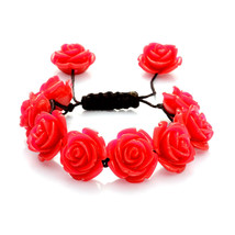 Pink Chroma Resin ROSETTE BRACELET on Adjustable SILK Cord up to 8 inches - $13.26