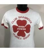 VTG Hanes Poly Cotton Ringer Tee T Shirt Single Stitch Irish Shamrock 80... - $29.99