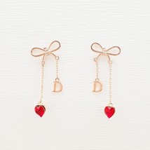 Initial D Ribbon Heart Made With Swarovski Stone Dangle Earrings Rose Gold Tone image 2