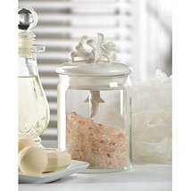 "Decorative Clear Glass 6"" Jar with Ivory Porcelain Flower Lid - $19.09"