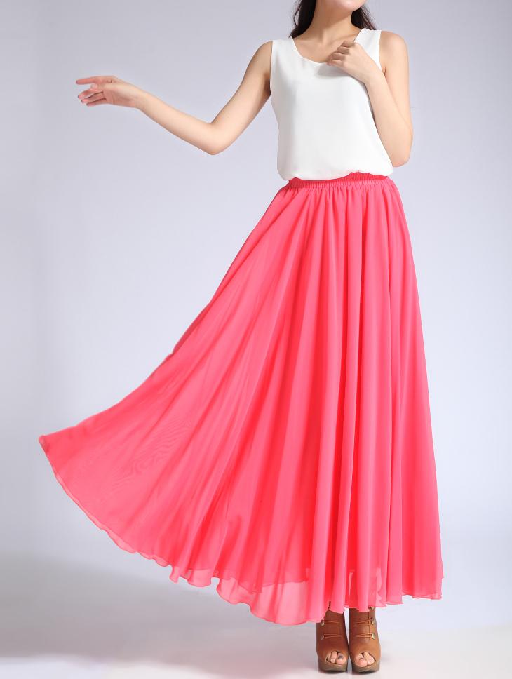 Chiffon skirt melon red 1