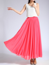 Melon Red Chiffon Skirt High Waisted Beach Chiffon Skirt Plus Size image 3