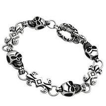 Inspired Silver Silver Grinning Skulls Linked Toggle Closure Bracelet wi... - $48.95