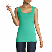 St. John's Bay Women's Scoop Neck Tank Top Size Medium Mint Leaf 100% Cotton  - $11.87