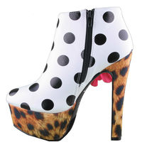 Iron Fist White Black Polkadot Leopard Lolita Love High Heels Platform Shoes NIB image 4
