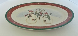 "Royal Seasons Stoneware Oval Platter RN2 with Snowmen 14"" Green Red - $19.68"