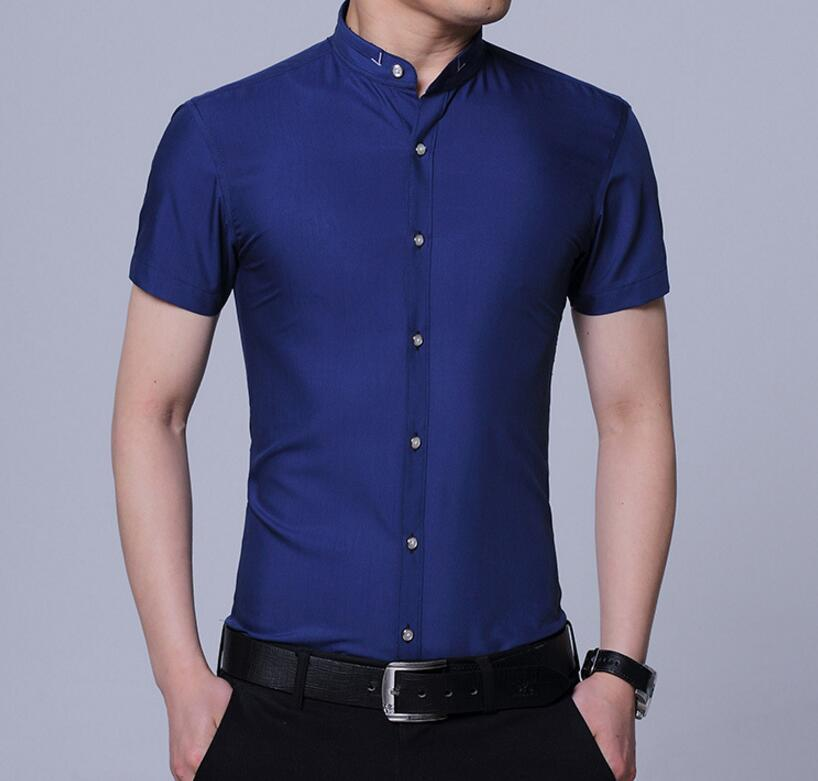 Primary image for 2018 summer men's short-sleeved solid color shirt casual shirts large size
