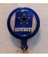 Nfl Dallas Cowboys Badge Reel Id Holder Blue Silver Alligator Clip Handm... - $8.99