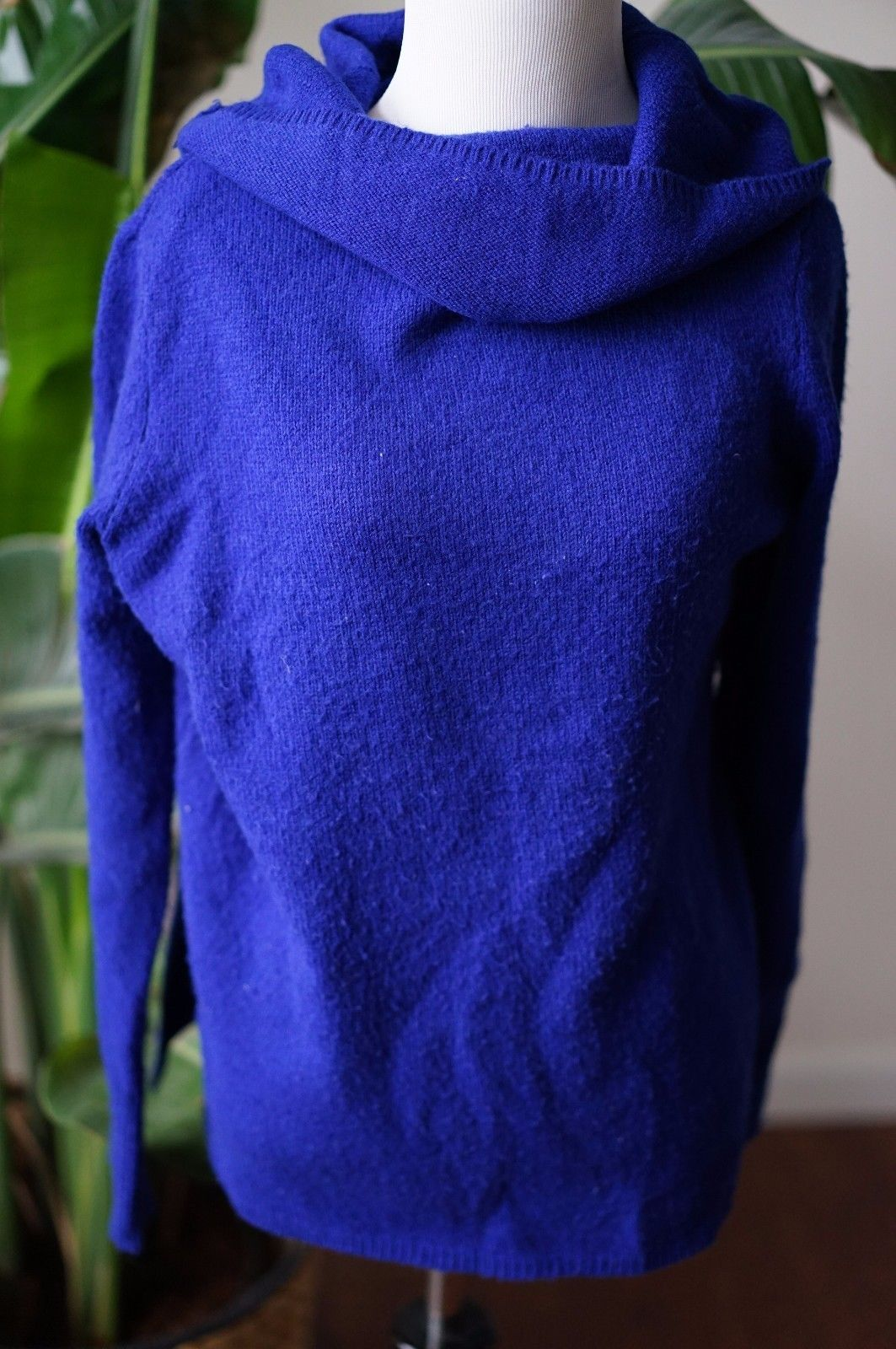 Primary image for DKNY Jeans wool blend sz M blue cowlneck turtleneck sweater