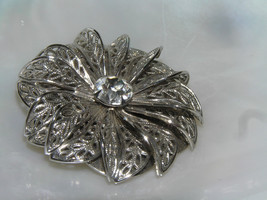 Vintage Openwork Silvertone Dimensional Flower w Clear Paste Rhinestone Center - $13.36