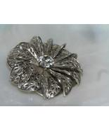 Vintage Openwork Silvertone Dimensional Flower w Clear Paste Rhinestone ... - $13.36