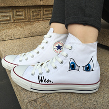Cartoon Eyes Original Design Canvas Shoes White High Top Converse Chuck ... - $119.00