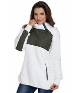 White Fleece Asymmetrical Snap Pullover  - $33.69