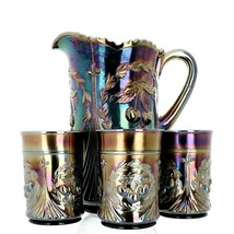 Antique Dugan Wreathed Cherry Amethyst Carnival Glass 7 Piece Water Set