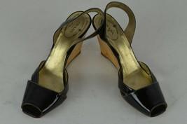 Prada Sling Back Peep Toe Lacquered Wedge Heel Sandals Sz 36.5 Black Fun... - $143.05