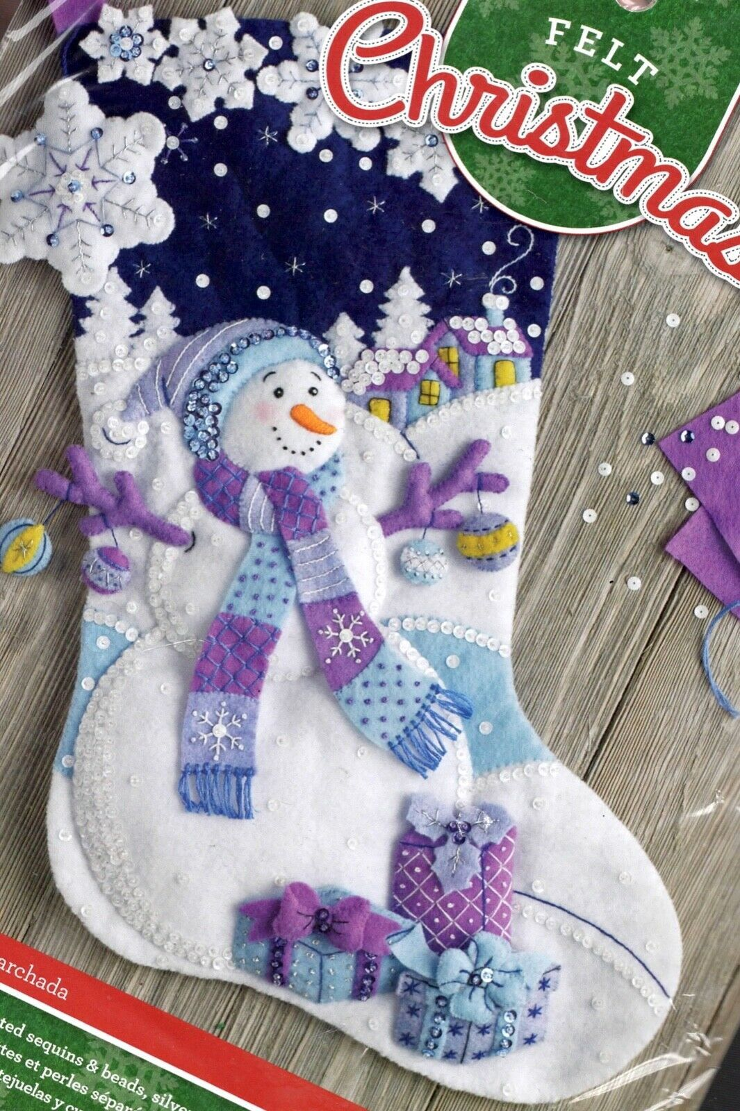 Primary image for Bucilla Frosty Night Snowman Purple Blue Snow Christmas Felt Stocking Kit 86703