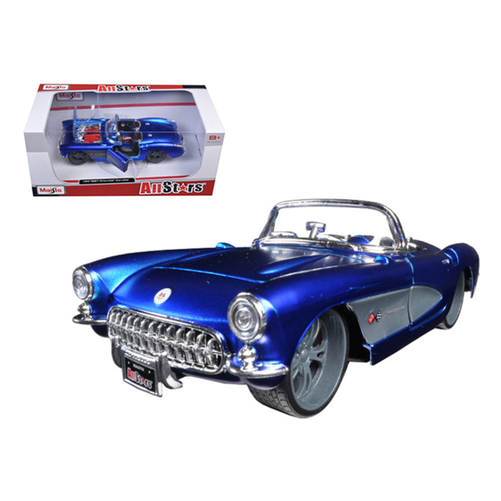 1957 Chevrolet Corvette Blue Custom 1/24 Diecast Model Car by Maisto 31323bl