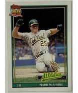 1991 TOPPS MARK MCGWIRE  #270 BASEBALL CARD OAKLAND ATHLETICS - $3.03