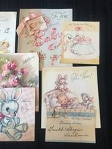 Set of 8 Vintage 40s illustrated Birth/Baby card art (Set D) image 4