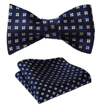 SetSense Men's Floral Jacquard Wedding Party Self Bow Tie Pocket Square Set Navy - $27.00
