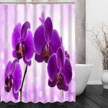 Best Nice Custom Orchids Flower Shower Curtain Bath Curtain Waterproof Fabric Fo image 2