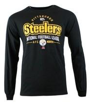 New Mens Black Long Sleeve NFL Apparel Pittsburgh Steelers Primary Receiver Tee - $18.31