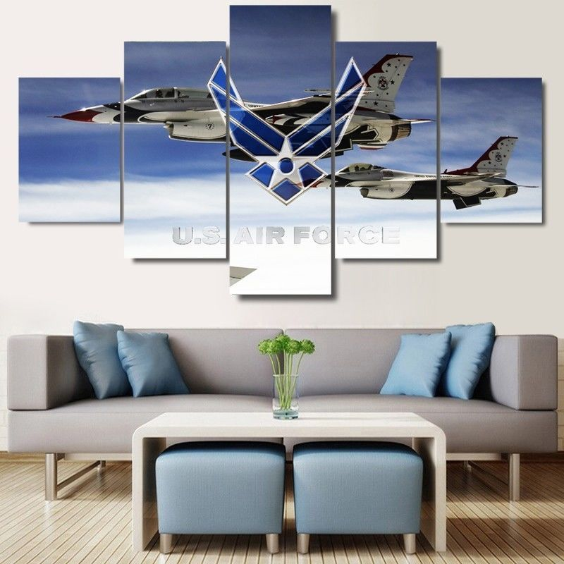 Framed 5 piece u s air force canvas prints painting wall for Decor 6 form air force