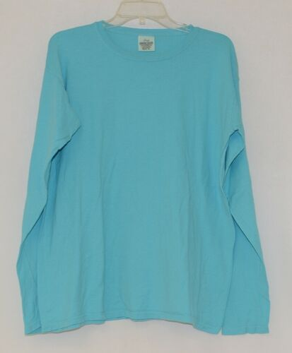 Comfort Colors Turquoise Womens Long Sleeve Cotton T Shirt Size XLarge