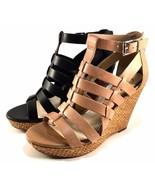 Jessica Simpson Jeyne Buff Leather Platform Wedge Closed Back Sandals Si... - $38.40