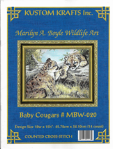 Counted Cross Stitch Pattern- BABY COUGARS-Marilyn Boyle Wildlife Art-18... - $9.46