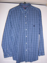 CHAPS Men's Shirt Top L/S Embroidered Logo Pocket Blue Plaid Cotton Medium NWOT - $19.90