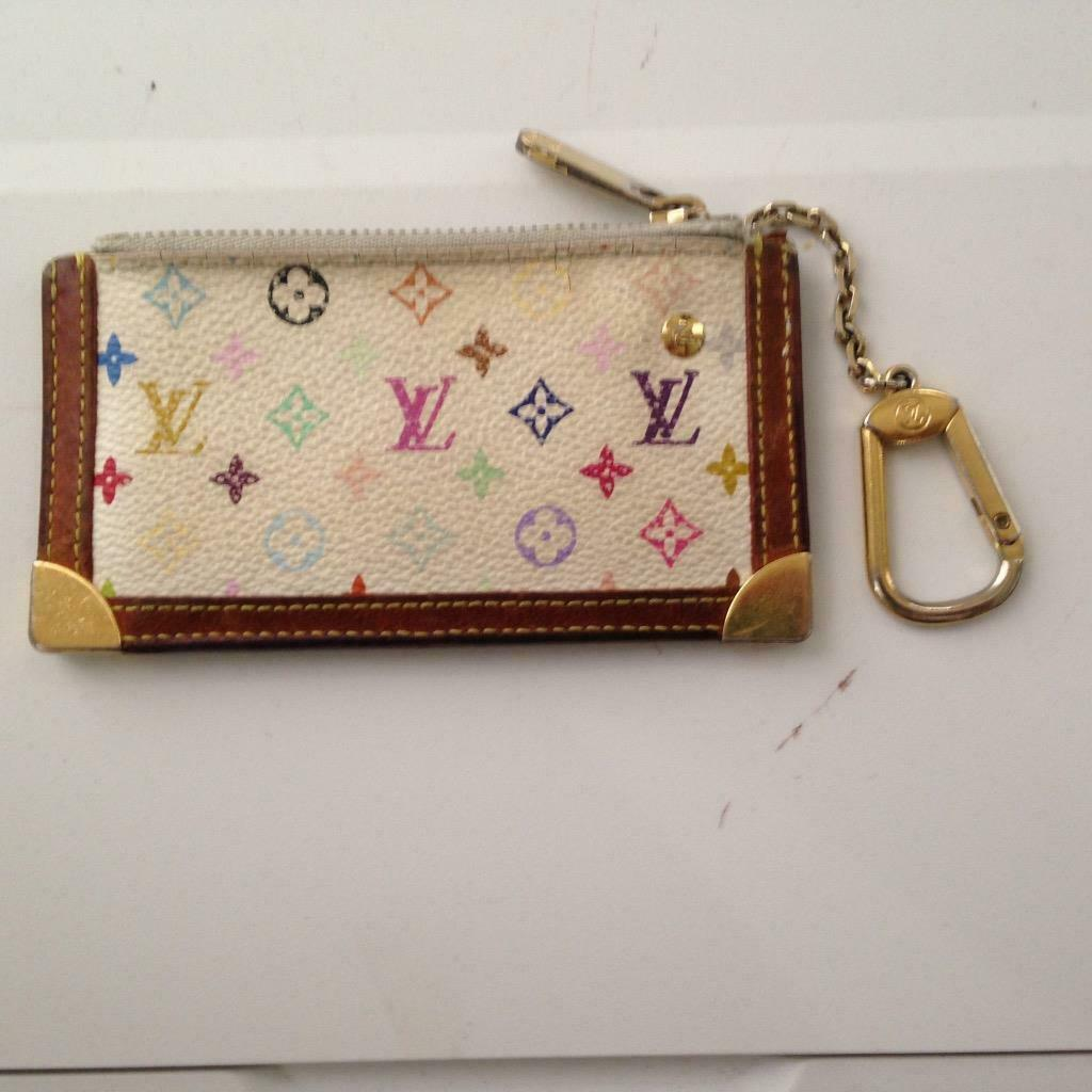 Primary image for Louis Vuitton, Multi-color Mono on White Canvas Coin-Key Case 5in x 3in (CA0023)
