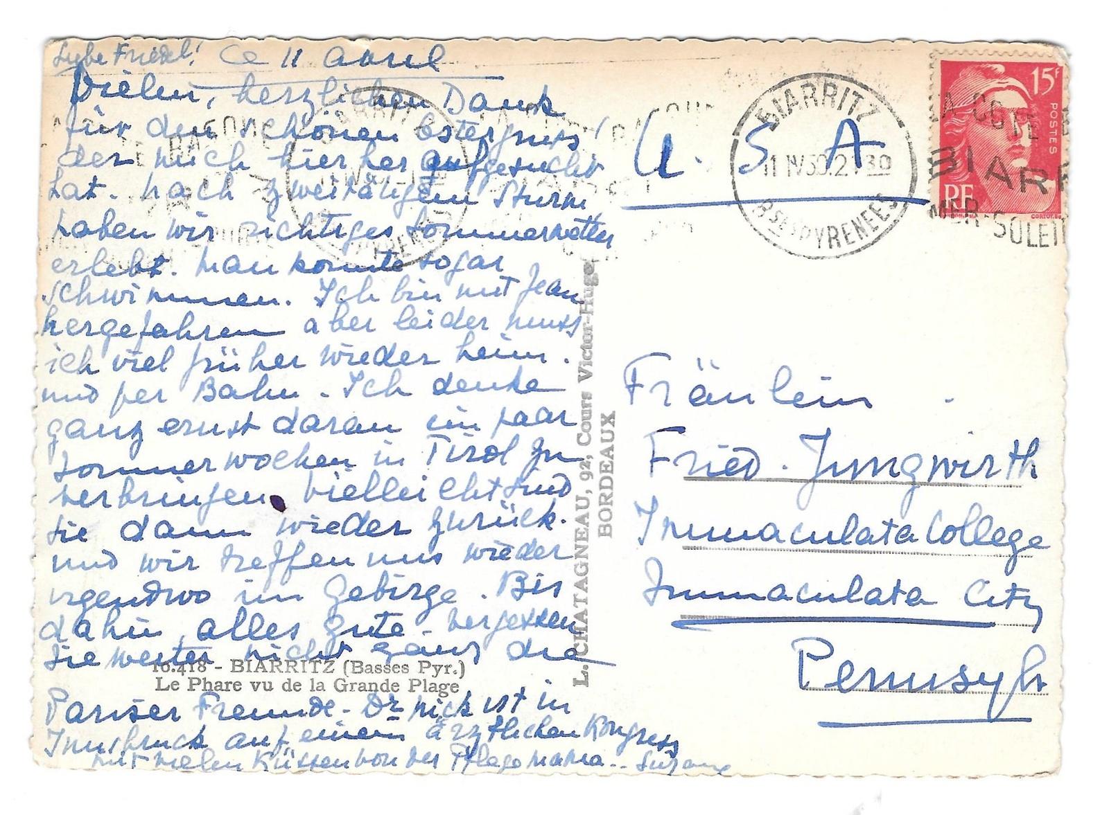 France Biarritz Lighthouse Grande Plage Beach Elce Glossy Photo Postcard 4X6