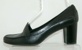 Franco Sarto 'Nation' black leather round toe slip on loafer stacked heels 8M image 11