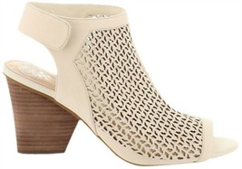 Vince Camuto Perforated Leather Peep-Toe Sandals Dastana Vanilla 9M NEW ... - $35.62